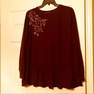CUTE Knox Rose Embroidered Burgundy Sweater